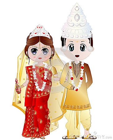 26bdecafba Highly detailed vector illustration of Bengali Wedding Couple ...