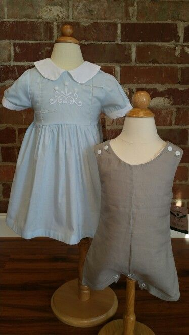 """How about this adorable pair of linen/cotton blend outfits for Easter?  I could envision applique initials on this Stone colored """"Brackin"""" boys Jon Jon. Brackin comes in sizes 6m-3t. The """" Abbie Kate"""" dress comes in sizes ranging from 2t-4t.  Message us or shop on line today at www.Oaksapparel.com."""