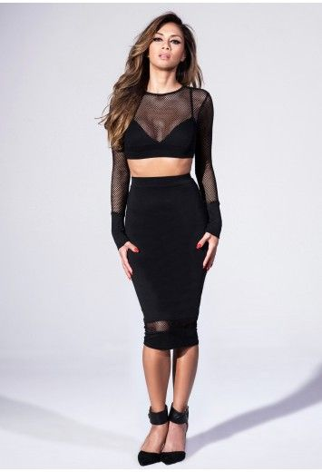 Black long sleeve fishnet dress