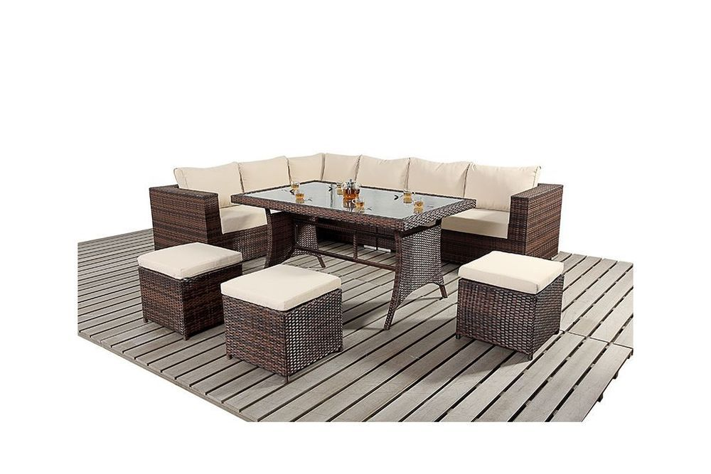 9 seater rattan garden furniture sofa dining table set conservatory outdoor rattan garden. Black Bedroom Furniture Sets. Home Design Ideas