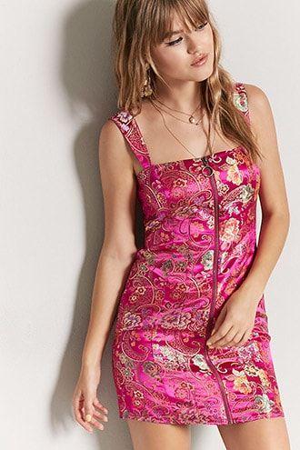 Pink satin dress forever 21