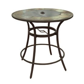 bar height table and chairs outdoor adirondack teak wood safford 40 in round stone patio beauty