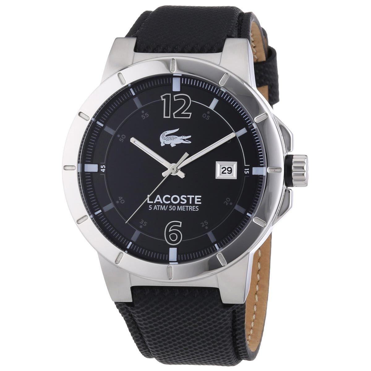 2010727 Darwin Men's Dial Leather Black Lacoste Strap Watch 67gyYbf