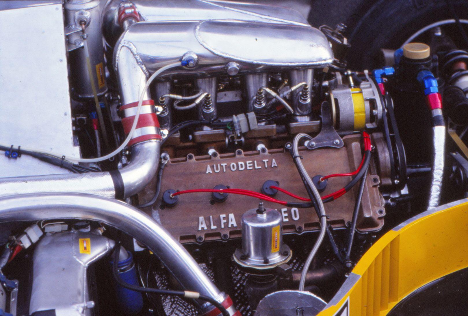medium resolution of alfa romeo 890t v8 turbo in minardi m184 1984 test