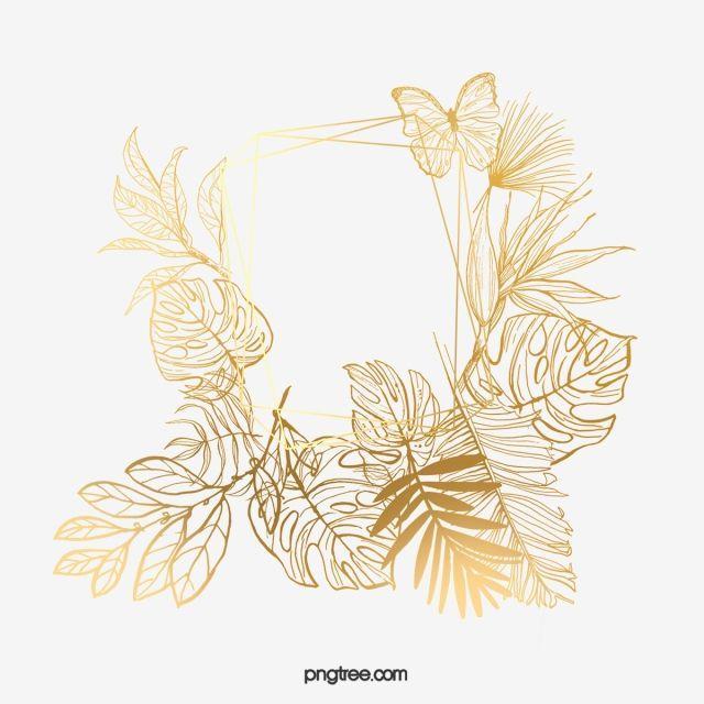 Golden Leaf Border Gold Leaf Element Plant Leaf Frame Png Transparent Clipart Image And Psd File For Free Download Leaf Border Golden Leaves Flower Border