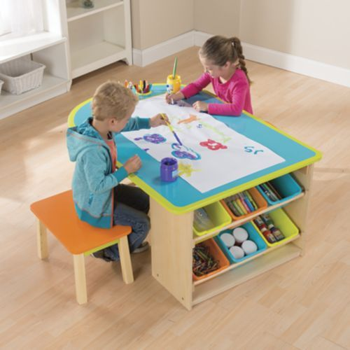 Kids Art Table With Stools And Storage From One Step Ahead