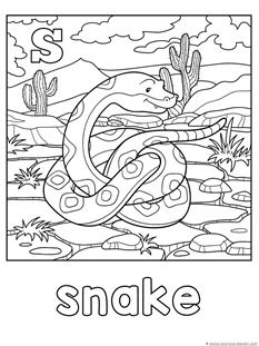 FREE S Is For Snake Coloring Page