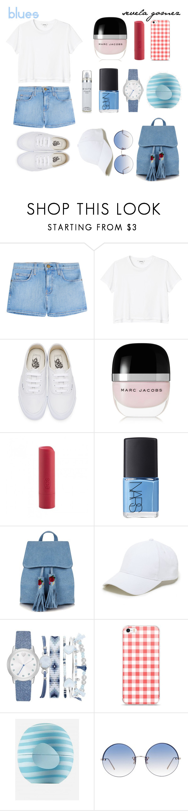 """cool blues"" by sequiagomez ❤ liked on Polyvore featuring Current/Elliott, Monki, Vans, Marc Jacobs, Eos, NARS Cosmetics, Skinnydip, Sole Society, A.X.N.Y. and Linda Farrow"