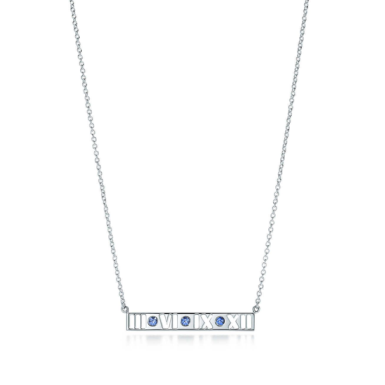 65b1a2d70 ... bar pendant in sterling silver with Montana sapphires. Atlas® pierced bar  pendant in sterling silver with Montana sapphires. Bar Necklace, Tiffany