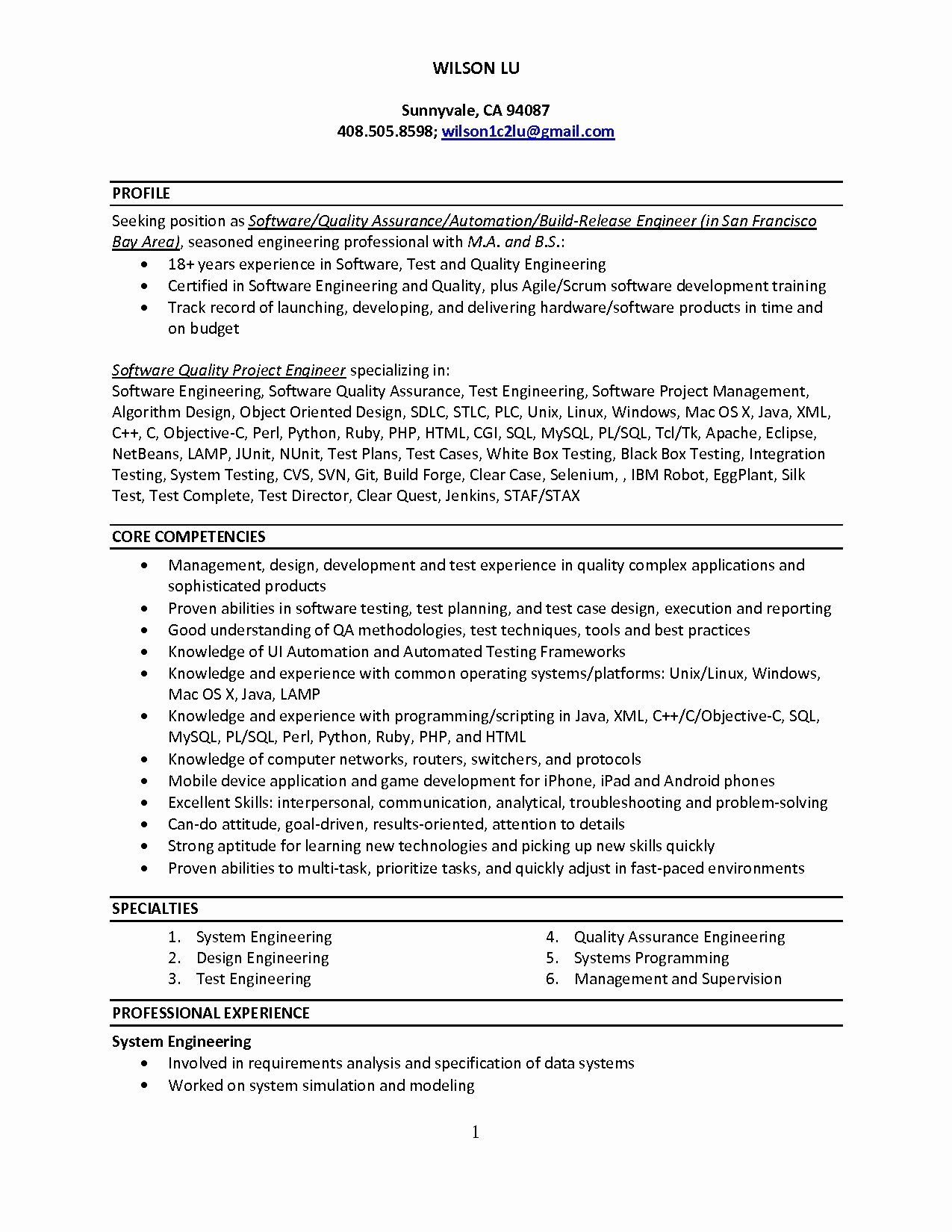 Quality Engineer Resume 12 Best Of Resume Format For 1 Year Experienced Java Developer .
