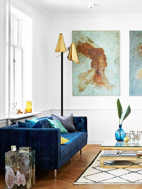 Modern Blue Velvet Tufted Sofa In Scandinavian Living Room On Thou Swell  @thouswellblog