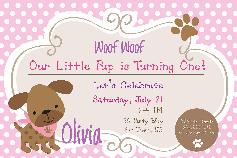 Dog Birthday Party Invitations Puppy Dog Party Invites 1st Birthday ...