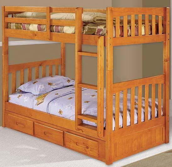 Honey Mission Youth Twin Bunk With Rake Slat Detailing   Walkeru0027s Furniture    Bunk Bed Spokane