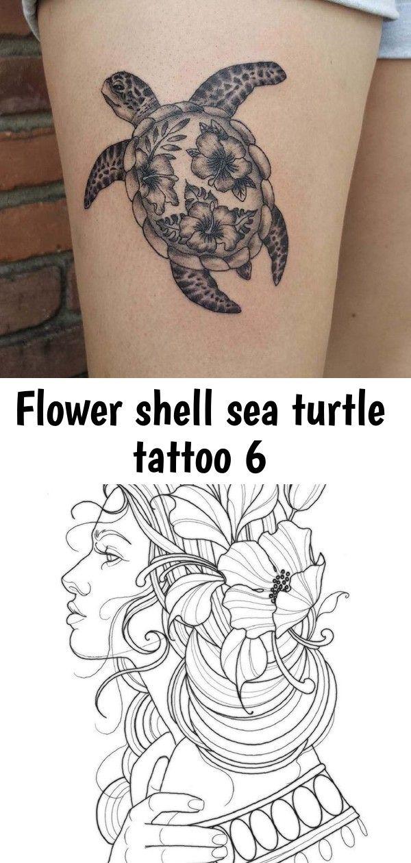 Flower shell sea turtle tattoo 6