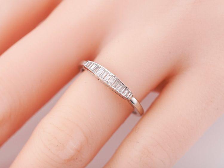 Antique Wedding Band Art Deco 31ct Straight Baguette Diamonds In
