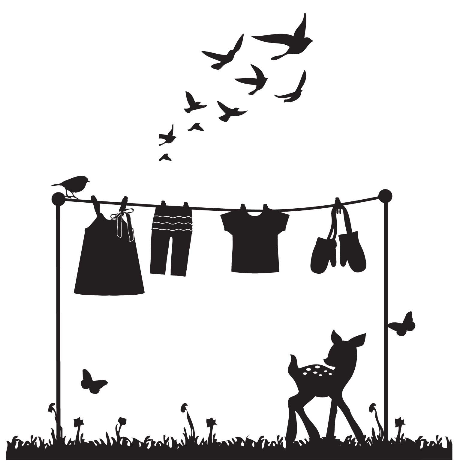 Silhouette art, clothesline with fawn clothes-line