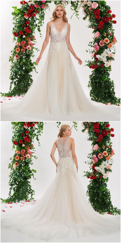 VNeck Appliuqes Button Wedding Dress Wedding dress