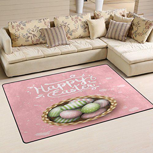 WOZO Easter Egg Happy Easter Pink Area Rug Rugs NonSlip Floor Mat ...