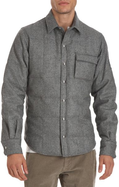 c0afbd958836 Moncler Gamme Bleu Flannel Puppytooth Puffer Shirt Jacket in Gray for Men  (silver)