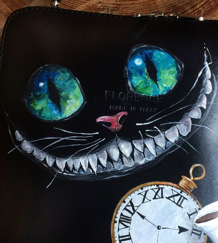 Black leather bag with hand-painted Cheshire Cat art for birthday