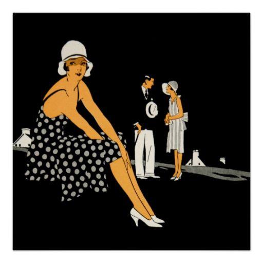 Art Deco Woman Shoes Polka Dot Black Poster #artdecofashion #vintagewoman #iconographique