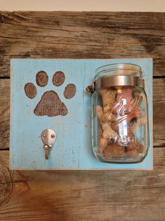 Handmade Leash Holder with Treat Jar holder Dog leash holder with Treat Jar