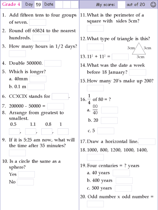 Mental Math Grade 4 Day 59 Math Pages, Math Worksheet, Mental Math