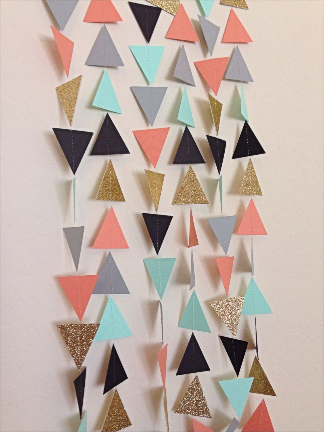 Coral Mint Gold Grey Black Geometric Triangle By