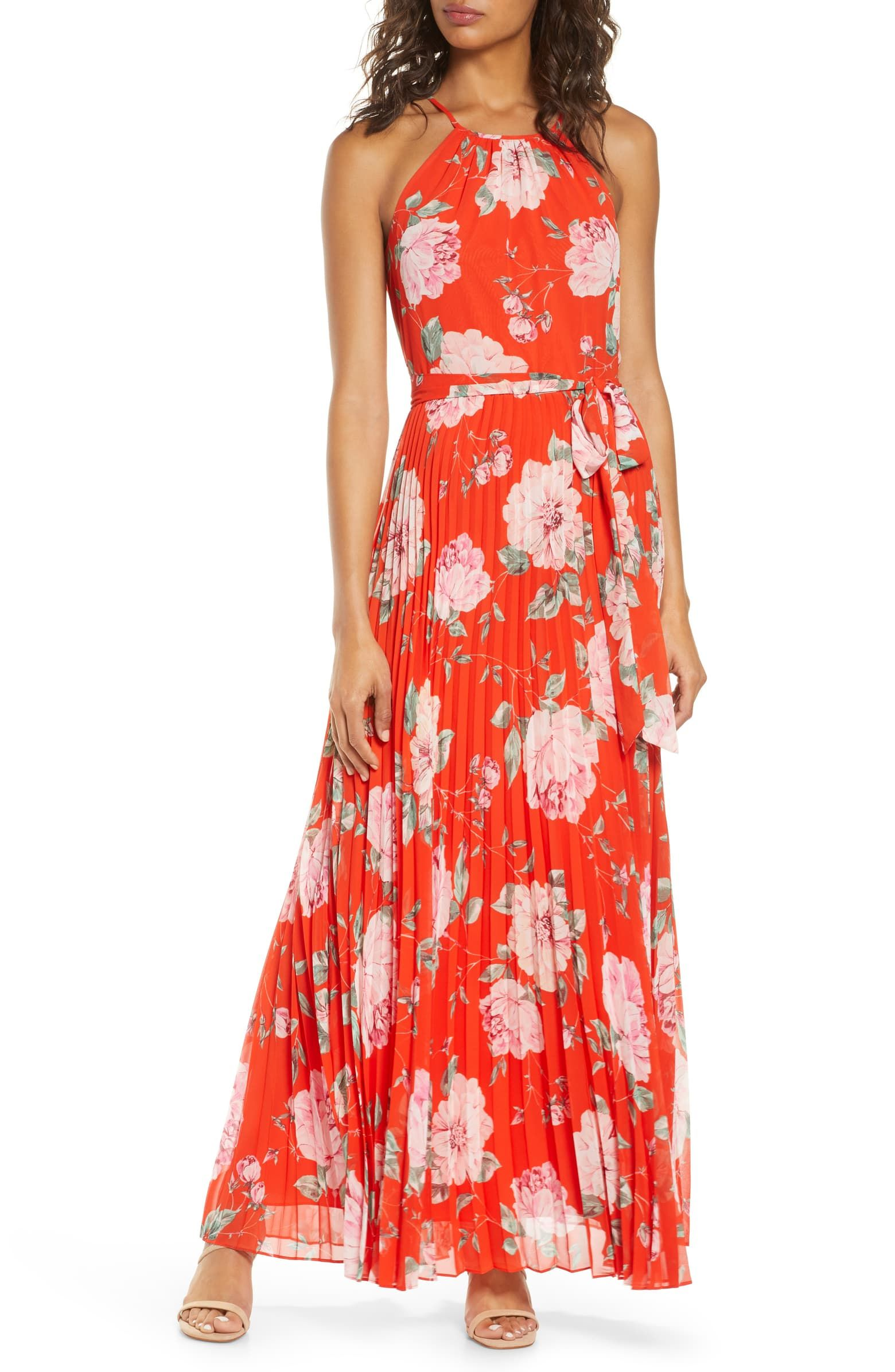 Eliza J Floral Halter Neck Pleated Maxi Dress Nordstrom Maxi Dress Wedding Maxi Dress Elegant Maxi Dress [ 2392 x 1560 Pixel ]