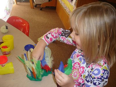 "The Very Hungry Preschoolers: Turkeys, Being Thankful & Other ""T"" Activities  feathers in the playdo"