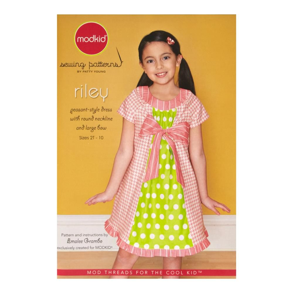 Modkid riley dress sewing pattern from fabricdotcom designed by mod kid boutique sewing modkid pattern riley peasant style dress with round neckline and large bow sizes jeuxipadfo Image collections