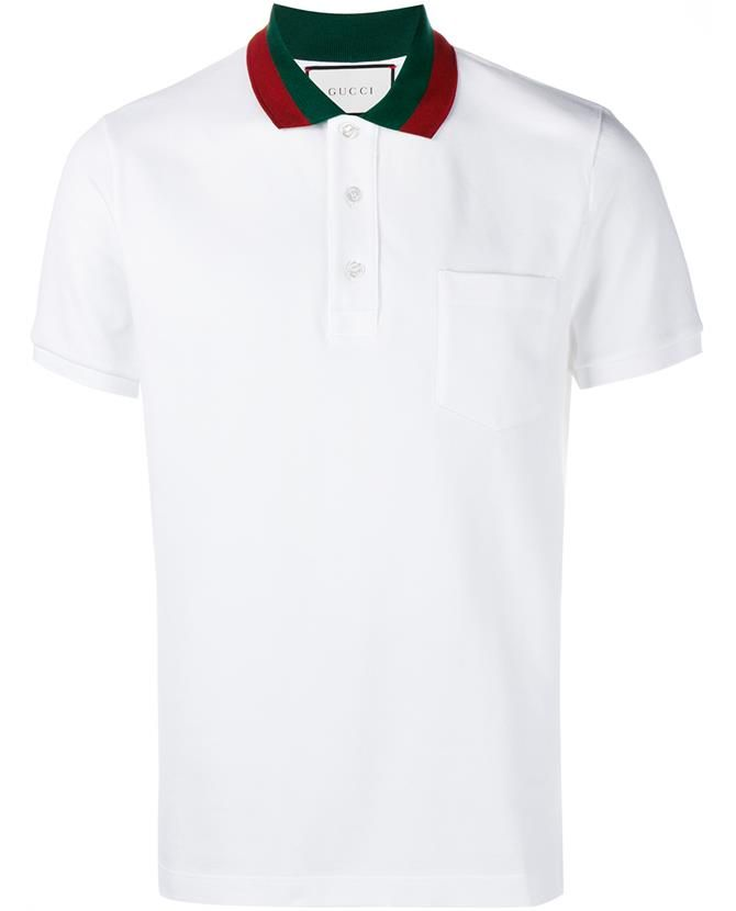 1e5fd608f GUCCI Cotton Polo Shirt With Web Collar | styles | Gucci shirts men ...