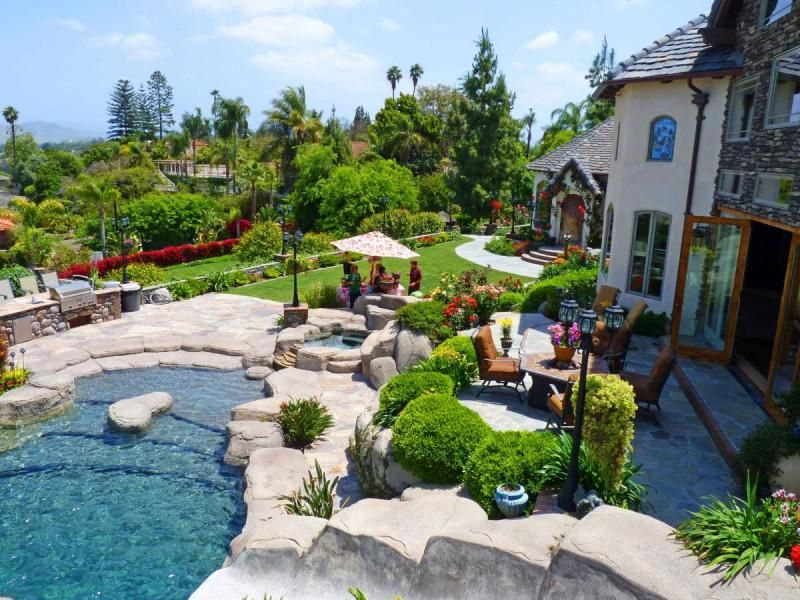 gorgeous inspiration home swimming pools. Beautiful Country Garden with Swimming Pool Design Ideas