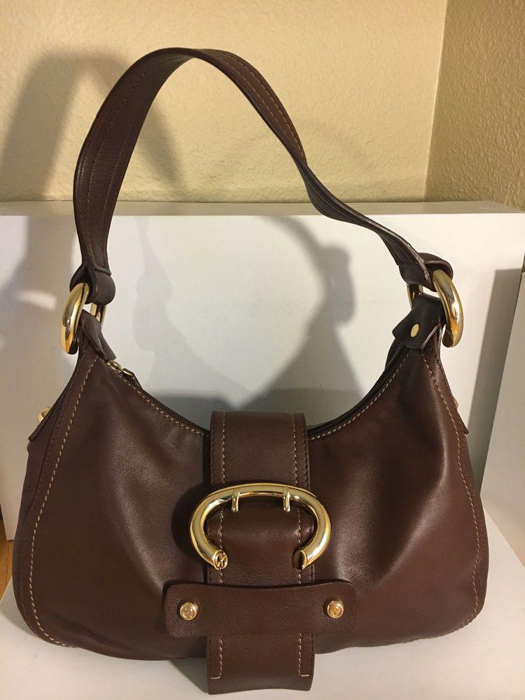 Francesco Biasia Brown Handbag Cow Genuine Leather Goldtone Hardware Purse  Bag  FrancescoBiasia  Handbag c4efd060c30b5