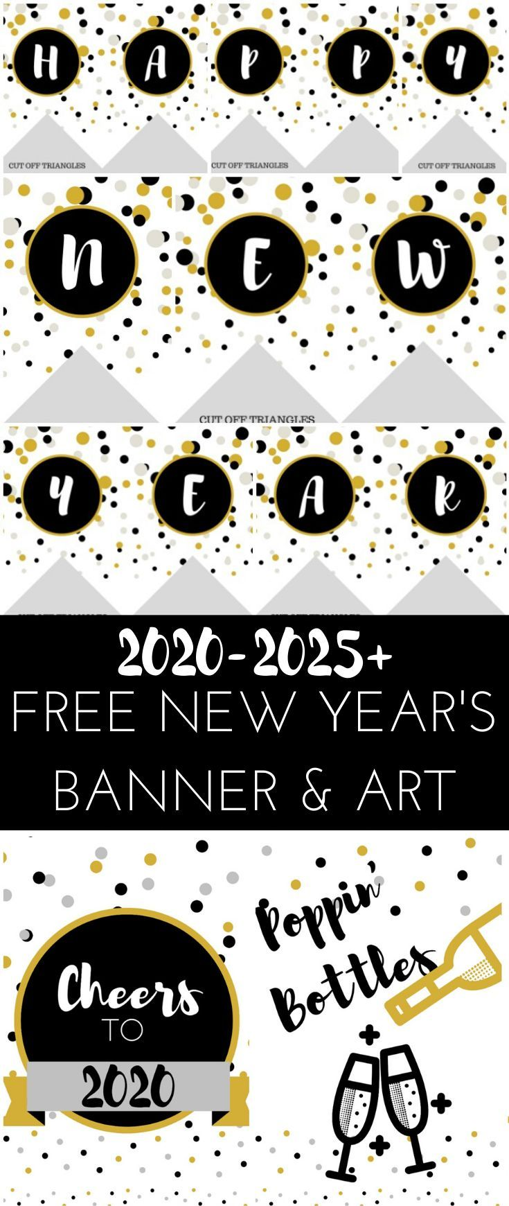 2020 Free New Year's Banner and Wall Art Printable #newyears #newyearsprintable #printable #newyearswallart #newyearsbanner