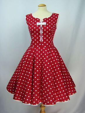 Photo of Petticoatkleid Kleid 50-er Rockabilly rot weiß