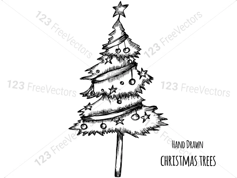 Hand Drawn Christmas Tree Vector And Photoshop Brush Pack 01 How To Draw Hands Christmas Tree Silhouette Photoshop Brushes