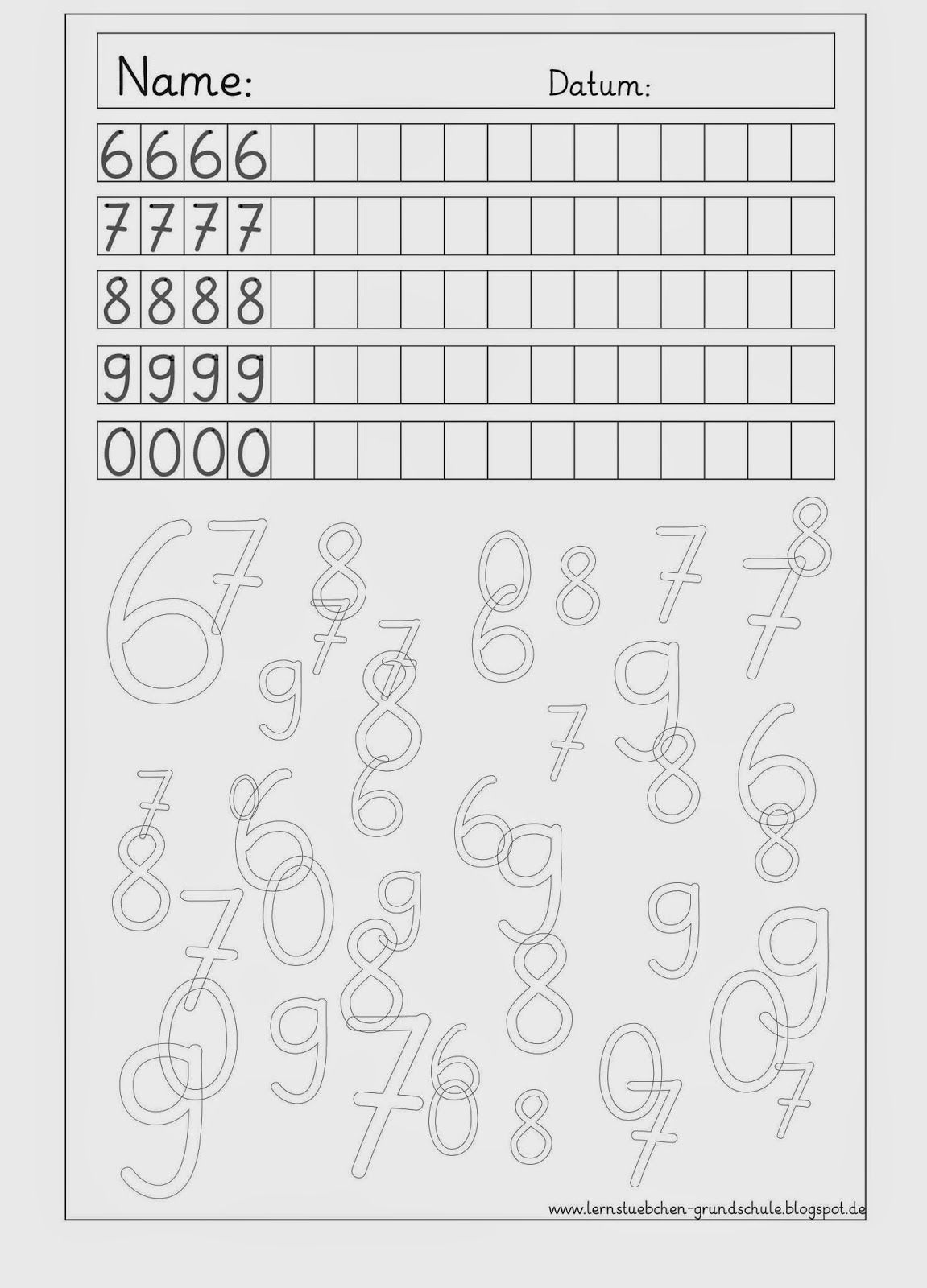 Ziffernschreibkurs - 8 AB´s zur Wiederholung   Wiederholung, Mathe ...