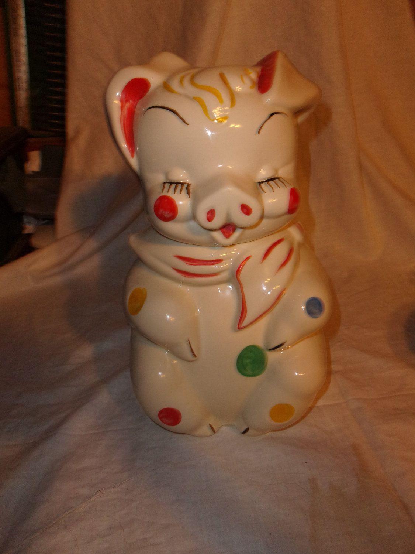 Disney Cookie Jar Etsy >> Vintage Shawnee Pig Cookie Jar With Polka Dots 150 00 Via Etsy