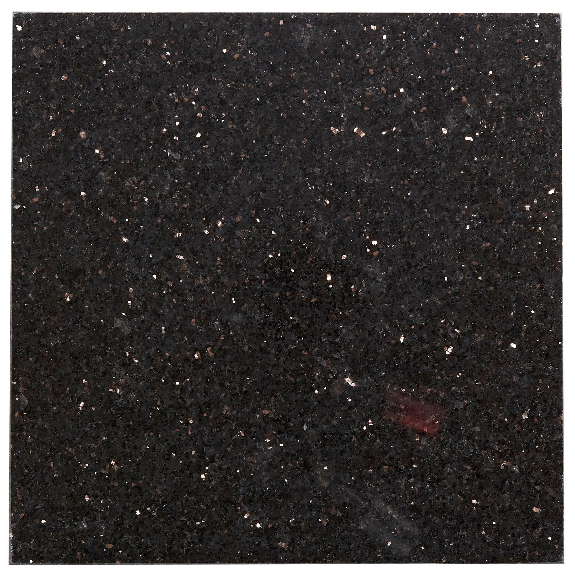 Galaxy Black Stone effect Granite Wall & floor tile, Pack of 5, (L ...