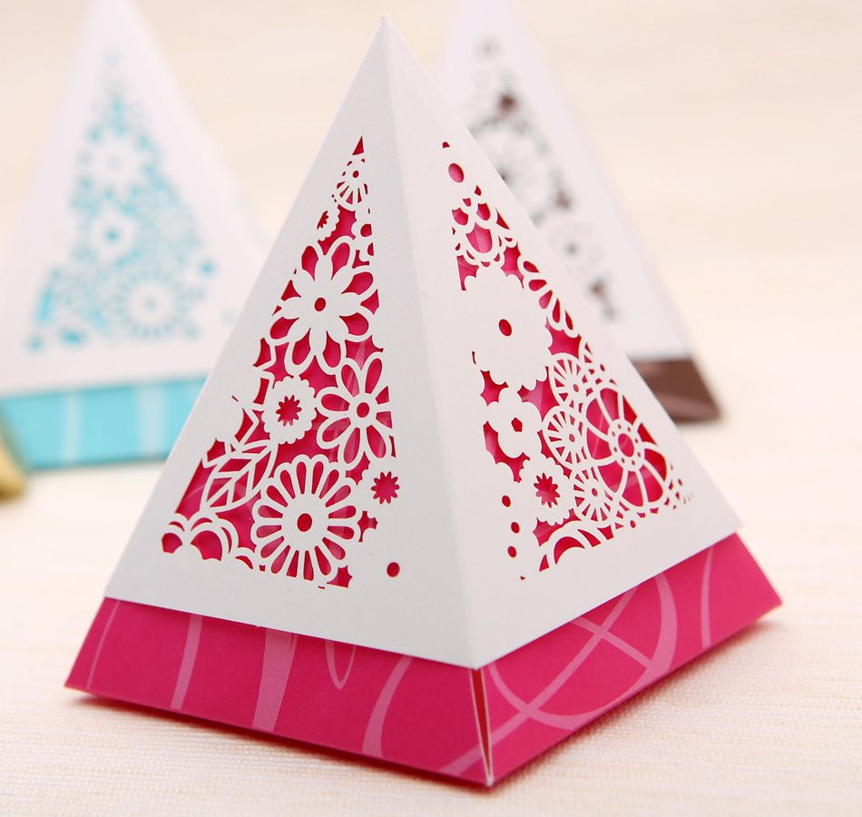 Free shipping red laser cut wedding gift package boxes , christmas ...
