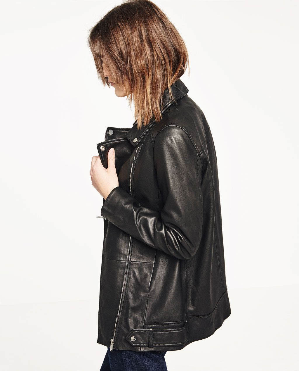 Image 1 of LONG LEATHER MOTO JACKET from Zara (With images