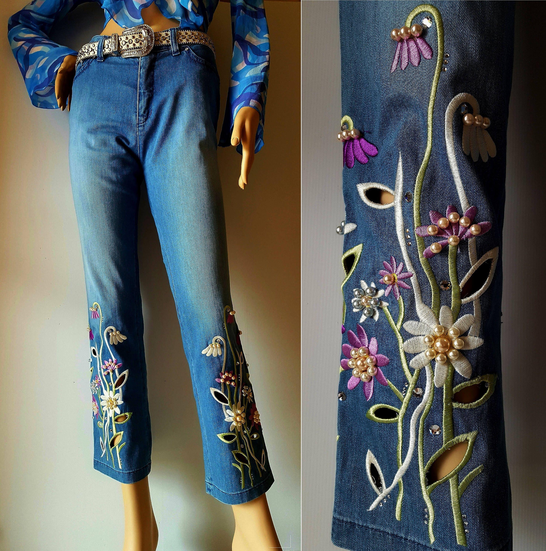 pantalone//jeans bianco stampa floreale denim di cotone taglie  40; 42; 44; 46