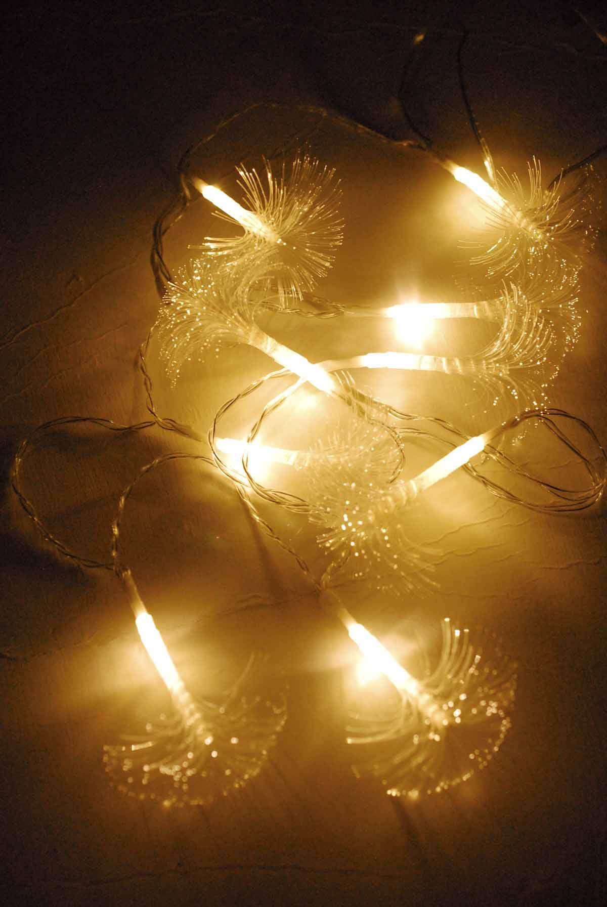Fiber optic flare string light dual color white u warm white in