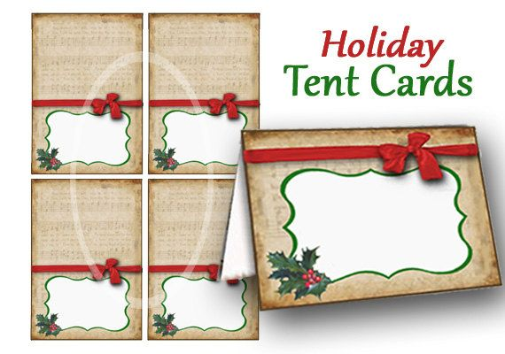Christmas Place Cards Printable Food Tent Cards Holiday Etsy Christmas Place Cards Holiday Place Cards Tent Cards