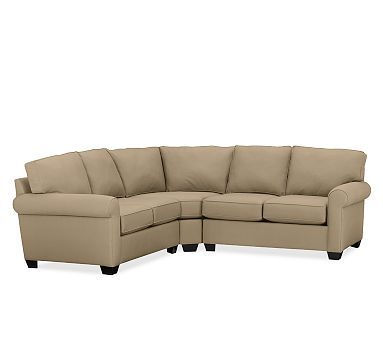 Buchanan Upholstered Curved 3-Piece L-Shaped Sectional with Wedge #potterybarn