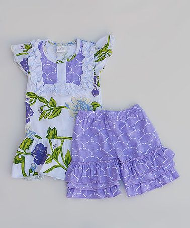 Another great find on #zulily! Purple Floral Ruffle Top & Shorts - Infant, Toddler & Girls #zulilyfinds
