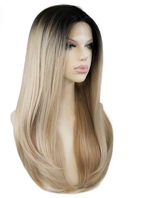 Custom Natural Light Ash Blonde Two Tone Highlight Dark Root LaceFront Ombre Wig#Ash#Blonde#Tone #lightashblonde