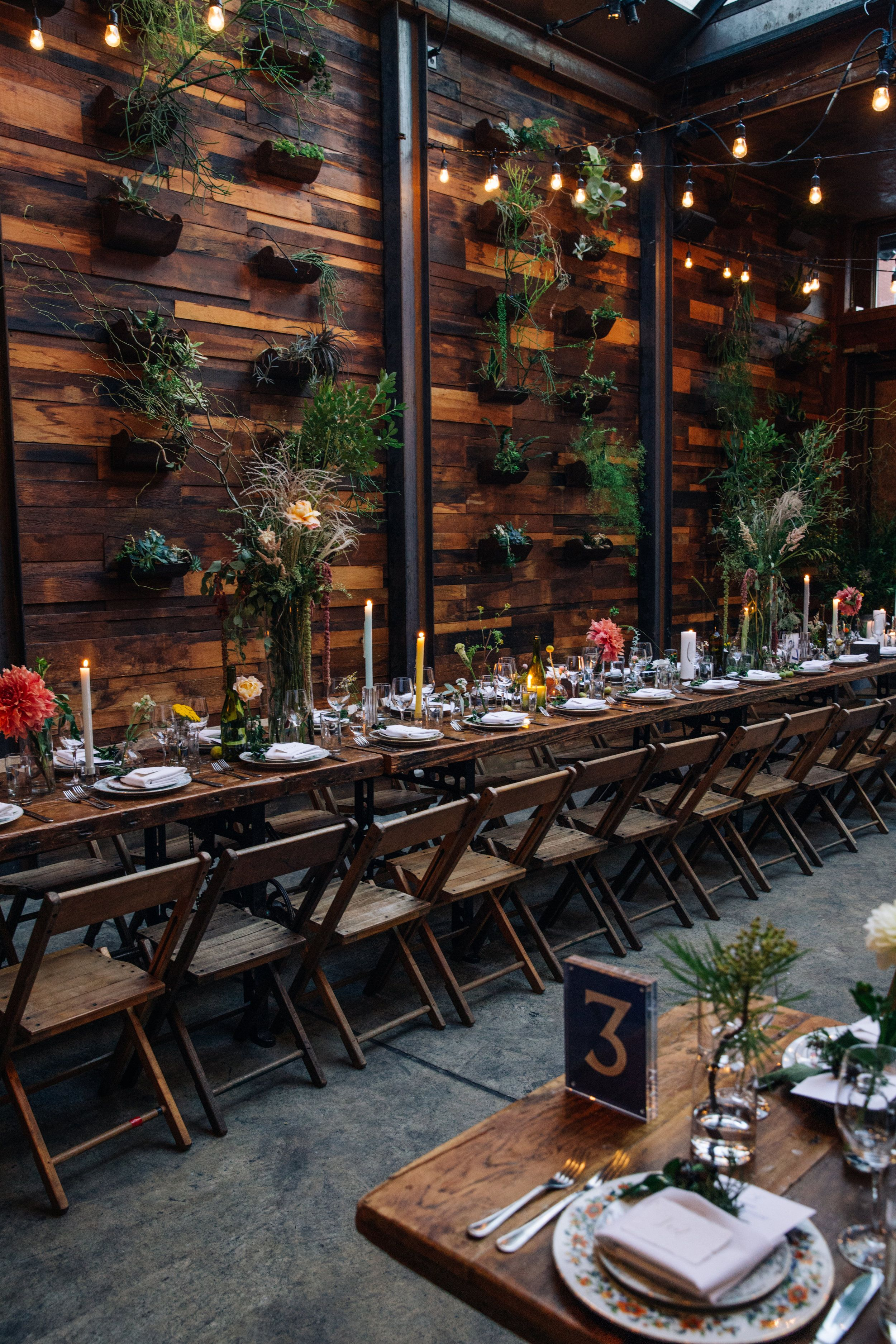 Brooklyn Winery S Atrium Is Set Ready For Another Special Wedding Dinner Rustic Restaurant Interior Cafe Interior Design Modern Restaurant Design