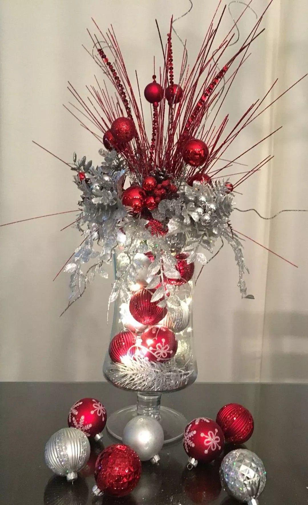 Red Silver Christmas Centerpiece Christmas Vases Christmas Decor Diy Christmas Wreaths